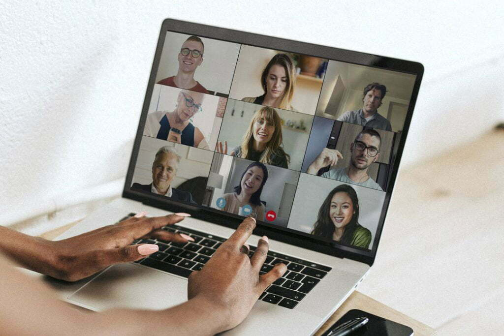 a group discussion on a computer screen