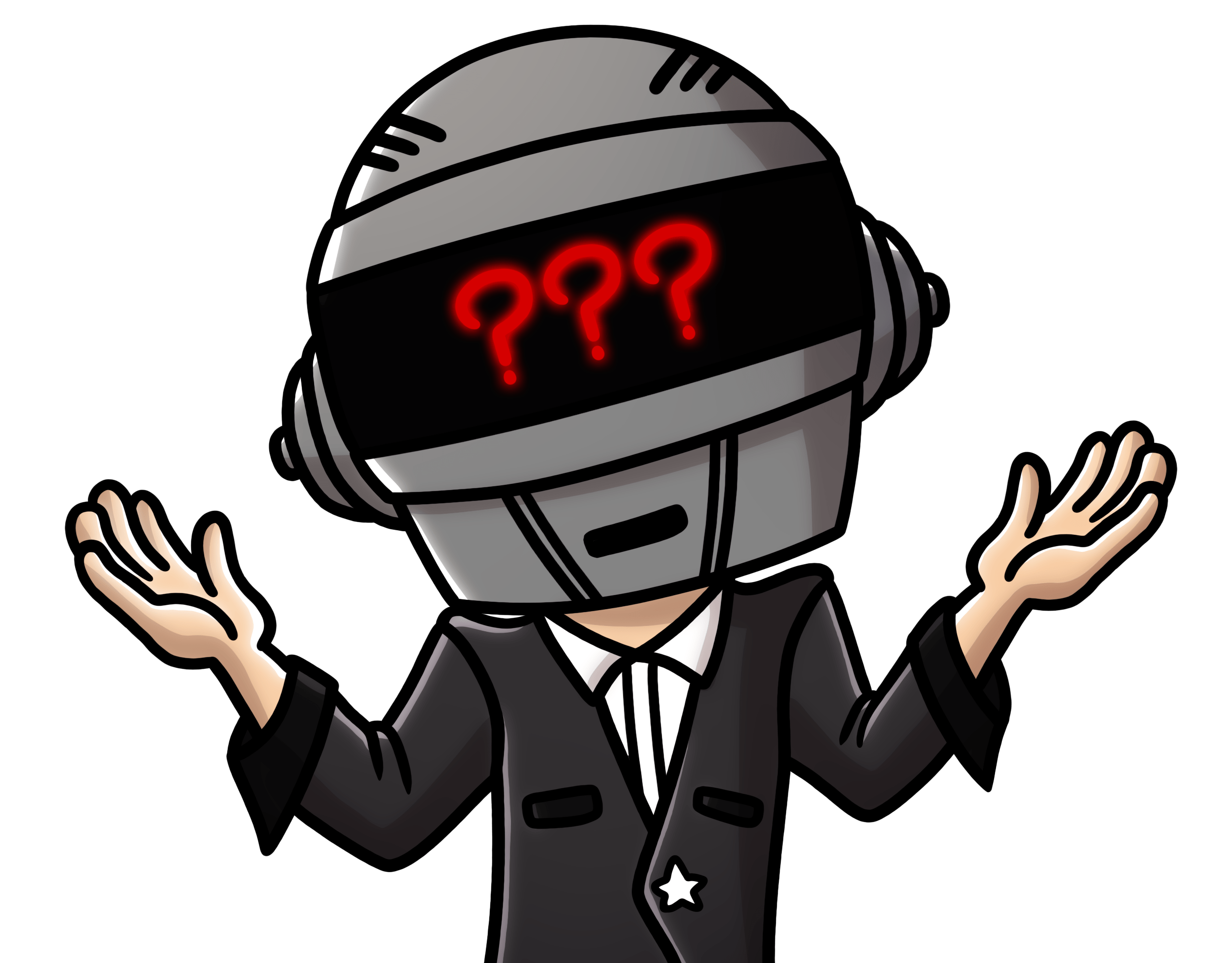Graphic of man in suit wearing full-face helmet with 3 red question marks on the visor