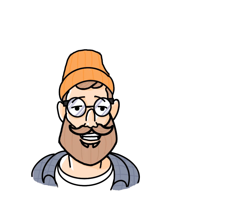 Small graphic of bearded man with glasses wearing a beanie